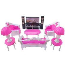 Niños de 7 Uds rosa de plástico Mini muñeca casa sofá lámparas de mesa de dormitorio de gabinete de casa de muñecas muebles accesorios para Barbie Decoración
