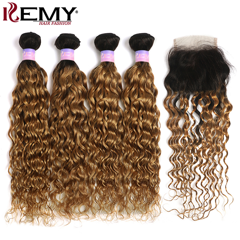 T1B/27 Water Wave Bundles With Closure Brazilian Ombre Colored Human Hair Weave Bundles With Closure KEMY Non-Remy Hair Bundles