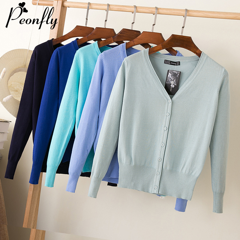 PEONFLYPlus Size Basic 2020 Spring Women Knitted Sweater Cardigans Casual Candy Color Long Sleeve Female Cardigan Sueter Mujer