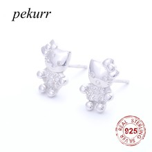 Pekurr 925 Sterling Silver Cartoon Cute Hello-Kitty Cat Women Stud Earring Kids Earrings CZ Ear Rings Tiff Lovely Jewelry(China)