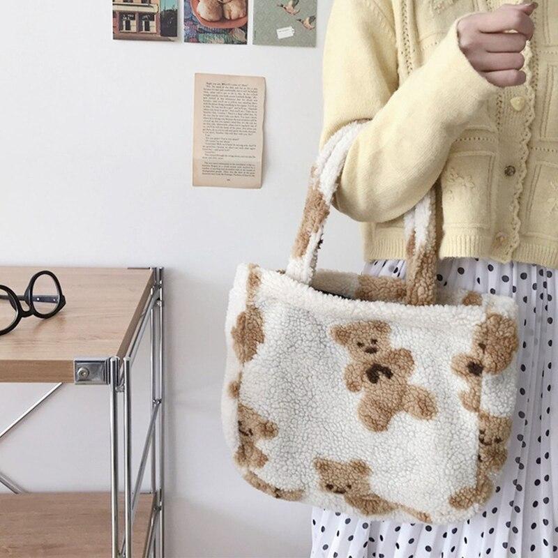Купить сумка тоут маленькие плюшевые сумки пушистые меховые с медведем