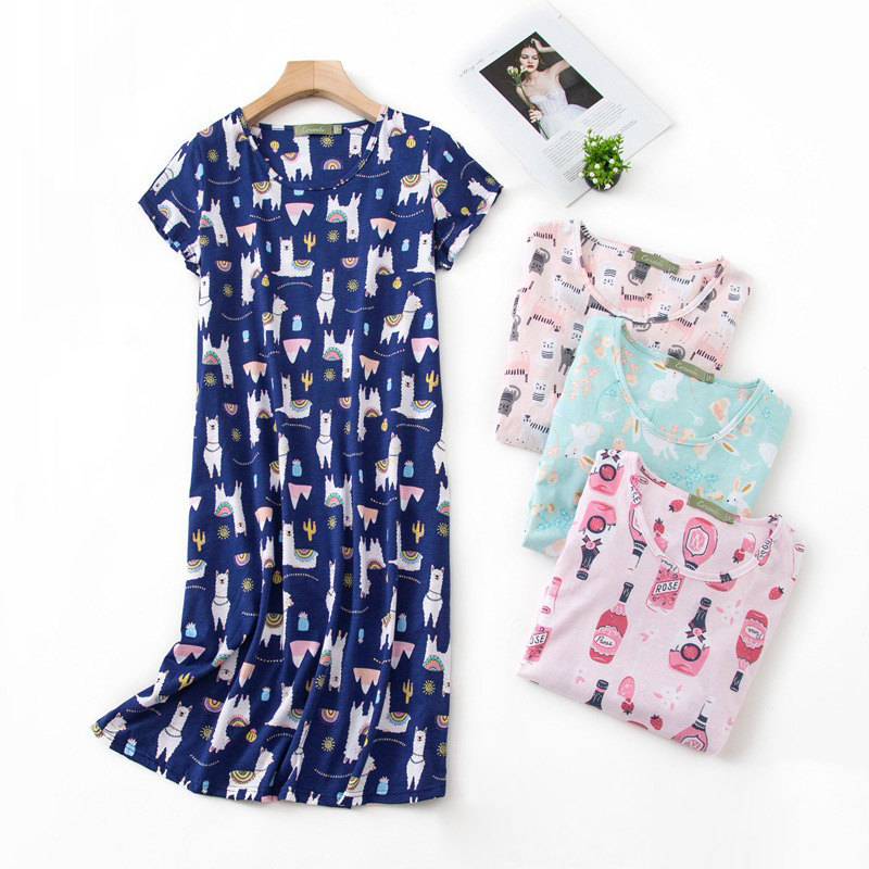 Casual cartoon nightdress women night dress summer cute short sleeve knit cotton sleepdress women nightgowns Plus size