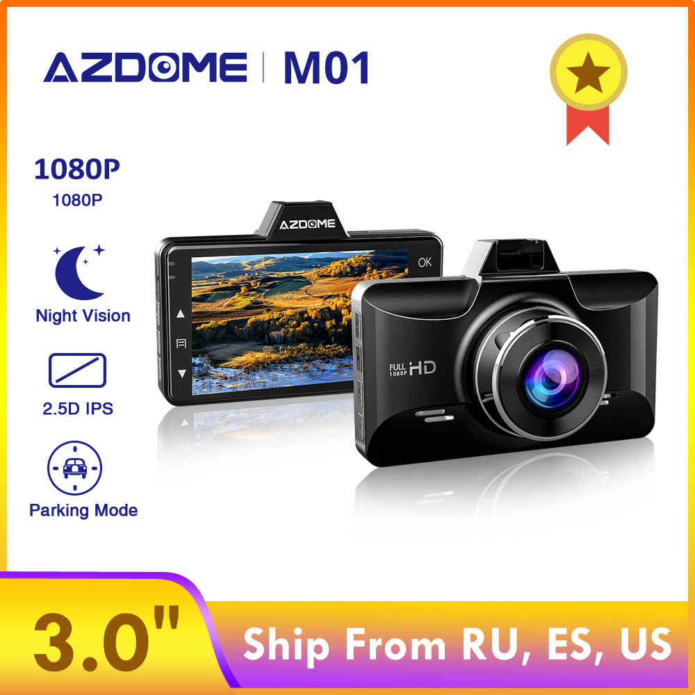 AZDOME M01 Dash cam 3-Inch 2.5D Screen 1080P HD Car DVR Recorder Driver Fatigue Alert 170 View Angle G-sensor for <font><b>Uber</b></font> Lyft image