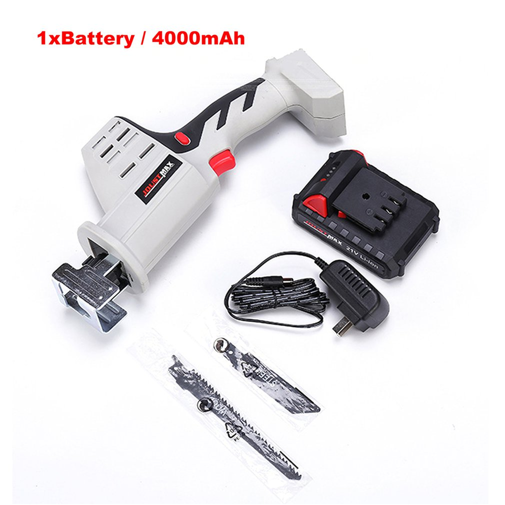 21V Lithium Reciprocating Saw Household Rechargeable Electric Knife Saw Multi-function Cutting Logging Chainsaw+Li-Ion Battery