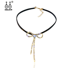 DREJEW Gold Silver Butterfly Bow knot Black Statement Choker Crystal Chain Alloy Necklaces Sets for Women Wedding Jewelry HN323