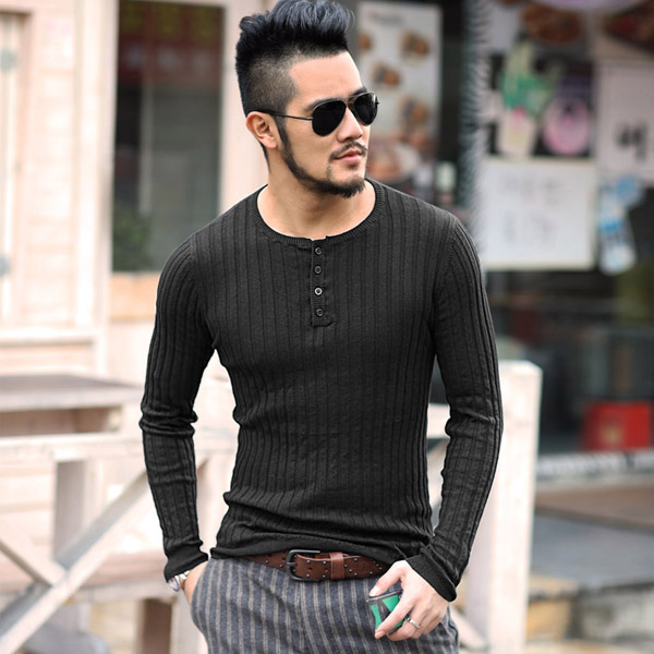 Autumn Winter Solid Sweater Men New Casual Slim Fit Mens Knitted Sweaters Comfort O-Neck Knitwear Pullover J662