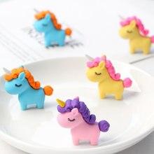 3 Pçs/lote Unicórnio Gordo Kawaii Borracha Modificado Borracha Bonito Dos Desenhos Animados Criativo Destacável Lápis Escritório Presentes Brinquedos Para Crianças