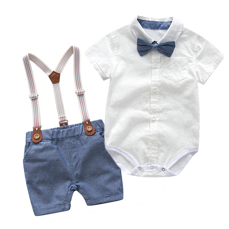 Toddler Boys Clothing Set Newborn Gentleman Suit Kids Short Sleeve Bow Tie Shirt+Suspender Shorts Casual Summer Baby Boy Clothes