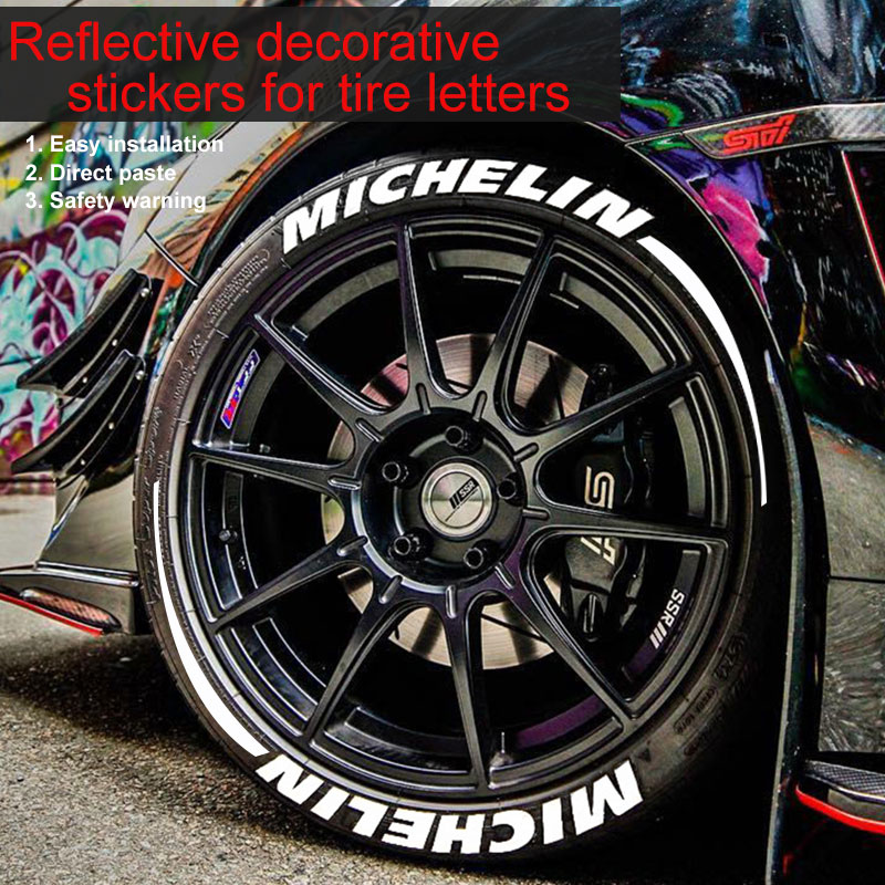 Car Motorcycle Letter Sticker Wheel Sticker Car 3D Decorative Sticker Decal For AMG/Sports/MICHELIN/MUSTANG/SPEED/TOYOTIRES