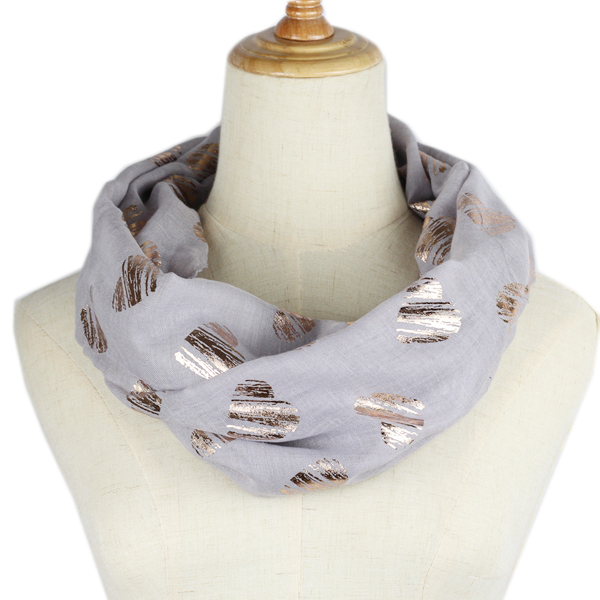 Women Ring Scarf Bronzing Silver Heart Neck Infinity Scarf Foulard Chiffon Snood Fashion O Scarves