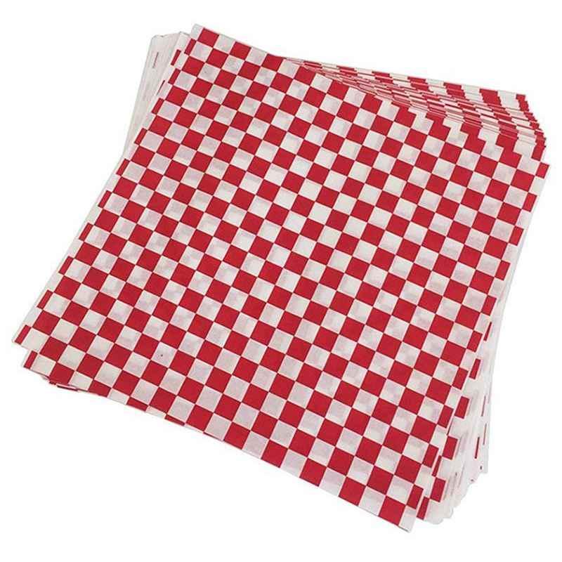 100 PCS geruite deli snoep mand liner Voedsel Wrap Papers, Vet Afstotend, Sandwich Burger Verpakking, rood en Wit