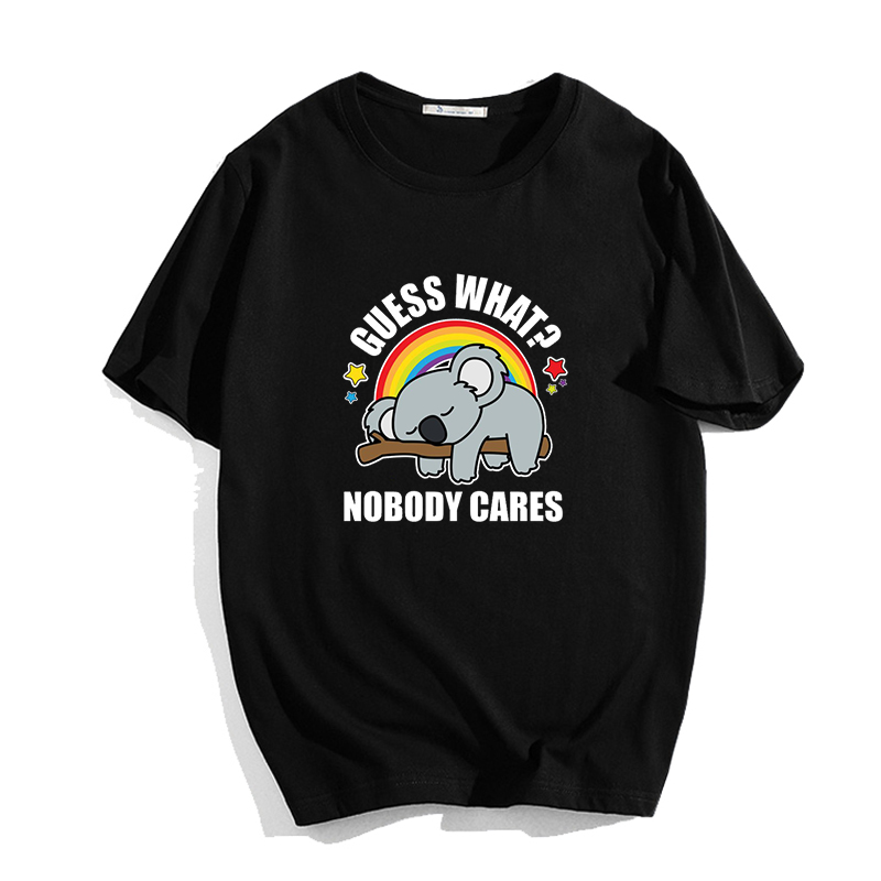 Guess What Nobody Cares Kawaii Koala Bear Print T Shirt Funny Graphic Female T-shirt Young Girl Cartoon Tee Shirt Women Tops image