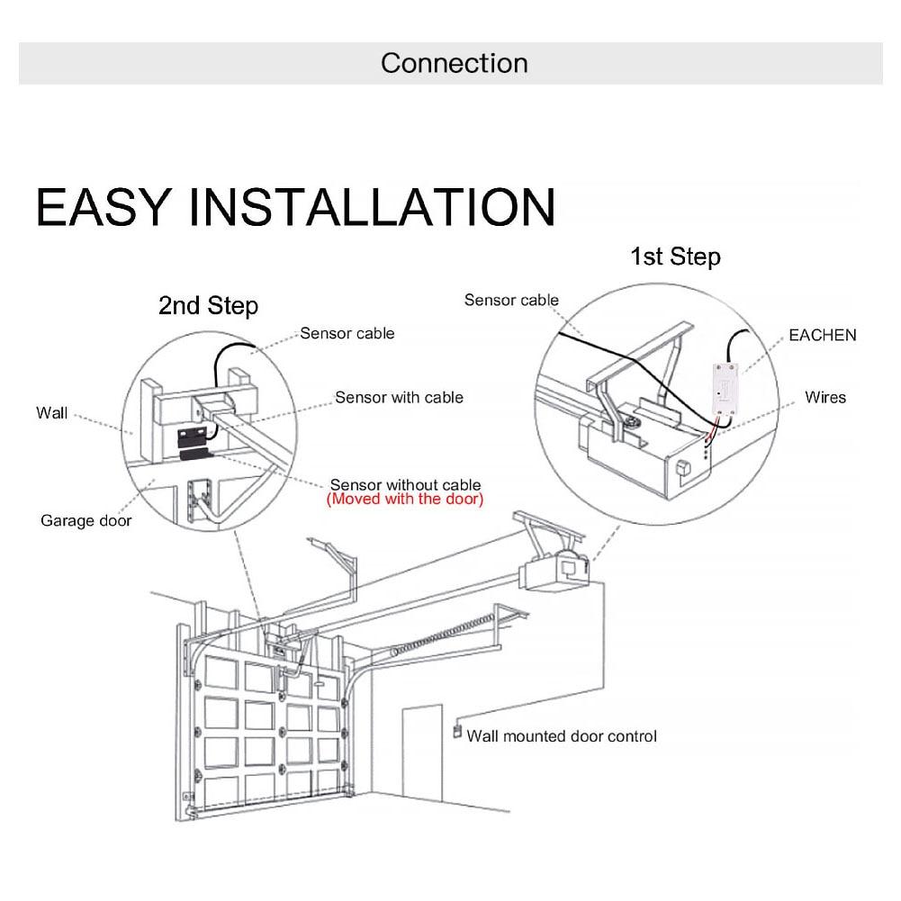 WiFi Smart Garage Door Smart Life APP Remote Control Open Close Monitor Compatible With Alexa Echo WiFi Smart Garage Door Smart Life APP Remote Control Open Close Monitor Compatible With Alexa Echo Google Home No Hub Require