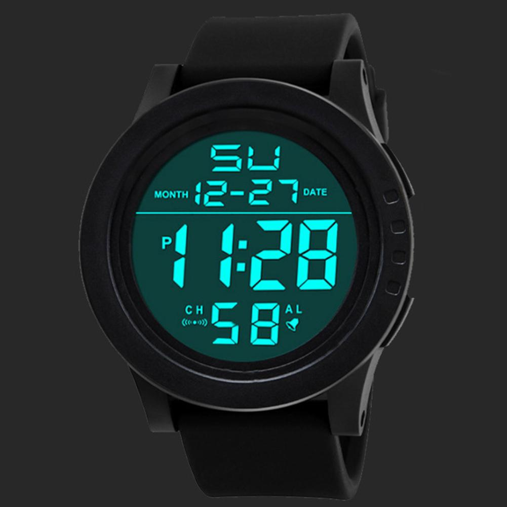 Men Waterproof Electronic Digital Dual LED Display Calender Alarm Sports Watch Dual LED Display Easy To Read Time Men Watch Gift