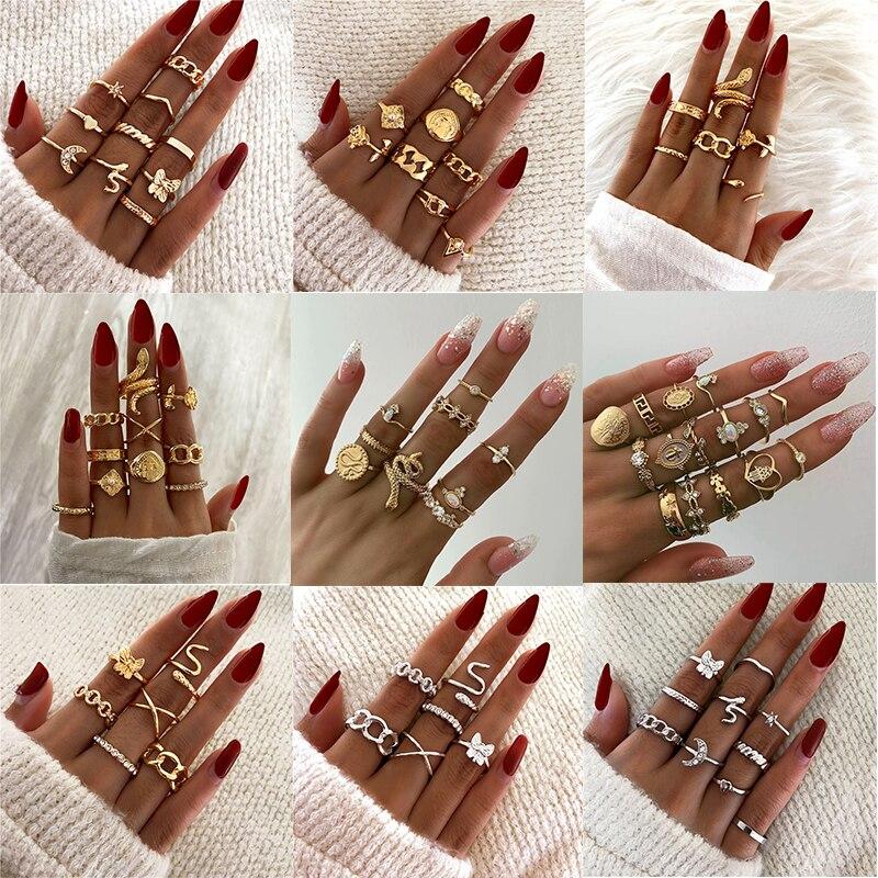 Boho vintage ouro anéis de junta para as mulheres retro cobra moeda lua estrelas corrente geométrica prata senhora dedo anéis conjunto jóias 2021