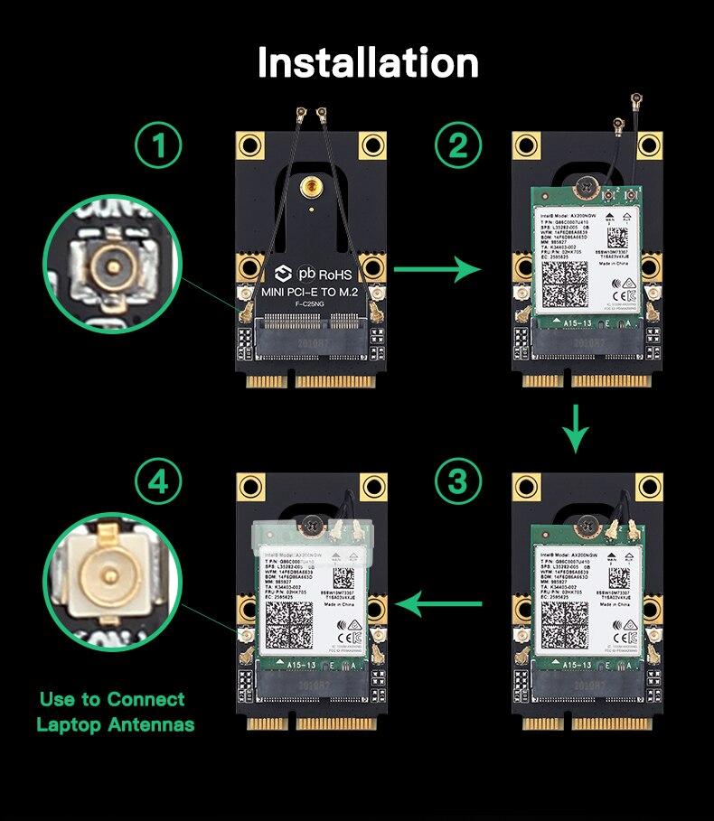 M.2 para mini pci-e adaptador wi-fi intel