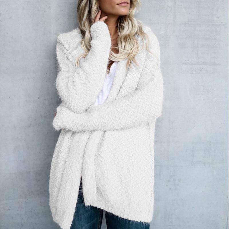 Купить женское вязаное пушистое пальто с длинным рукавом кардиган свитер