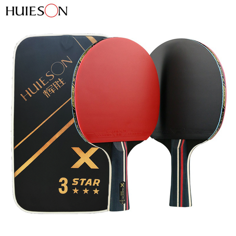 Huieson 2Pcs Upgraded 3 Star 5 Star Carbon Table Tennis Racket Set Lightweight Powerful Ping Pong Paddle Bat With Good Control