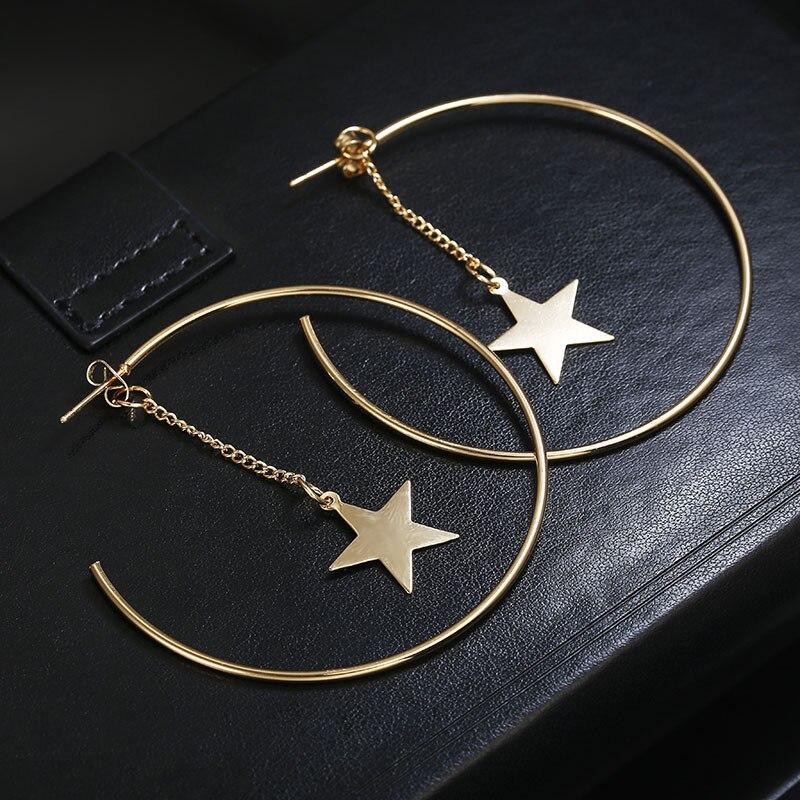 2020 новые модные минималистичные увеличенные геометрические серьги, металлическое кольцо, серьги в форме звезды, женские серьги, женская би...