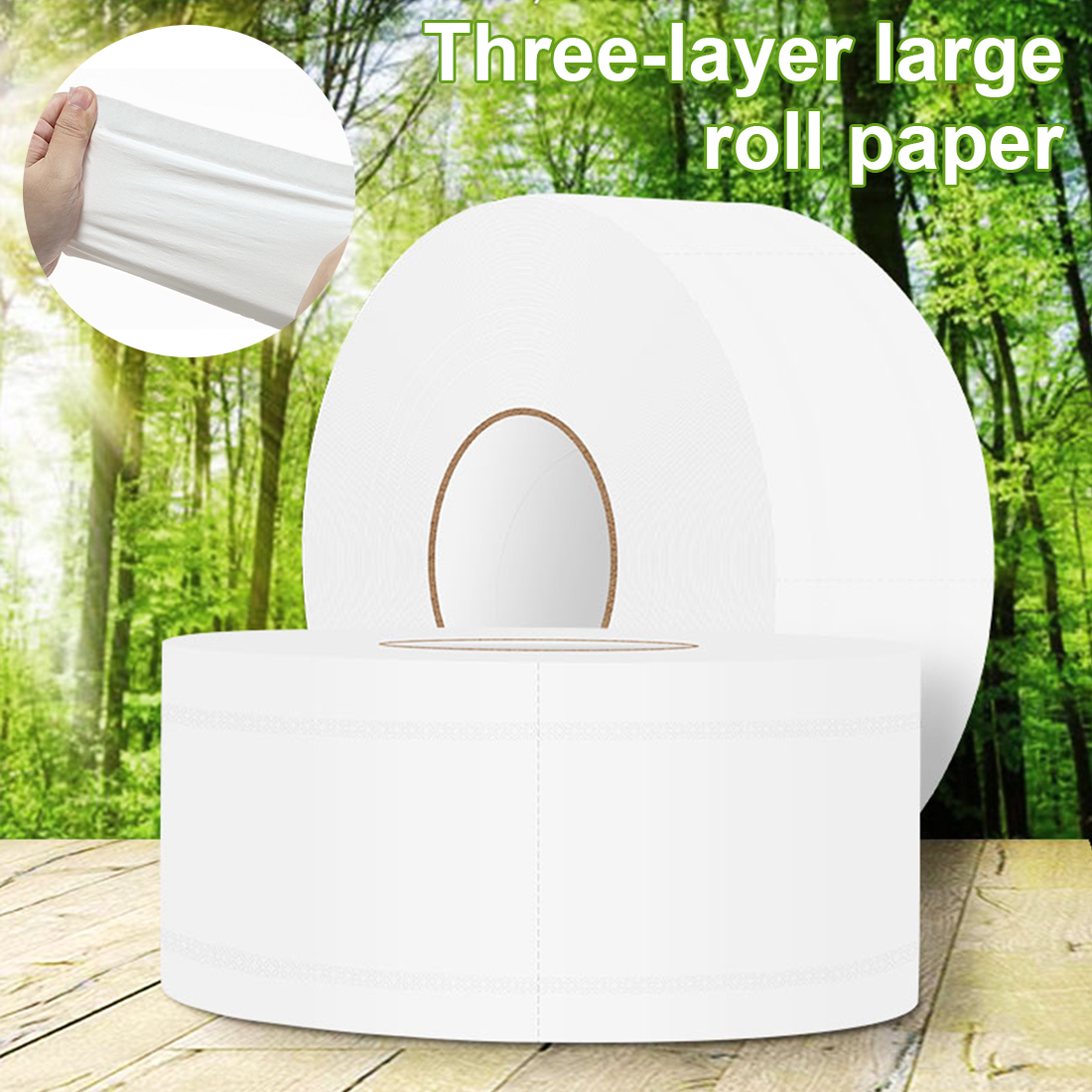 2pcs 580g/roll 900+ Sheets Jumbo Roll Toilet Tissue White Hollow Replacement Roll Paper Soft Toilet Paper For Home Public Hotel