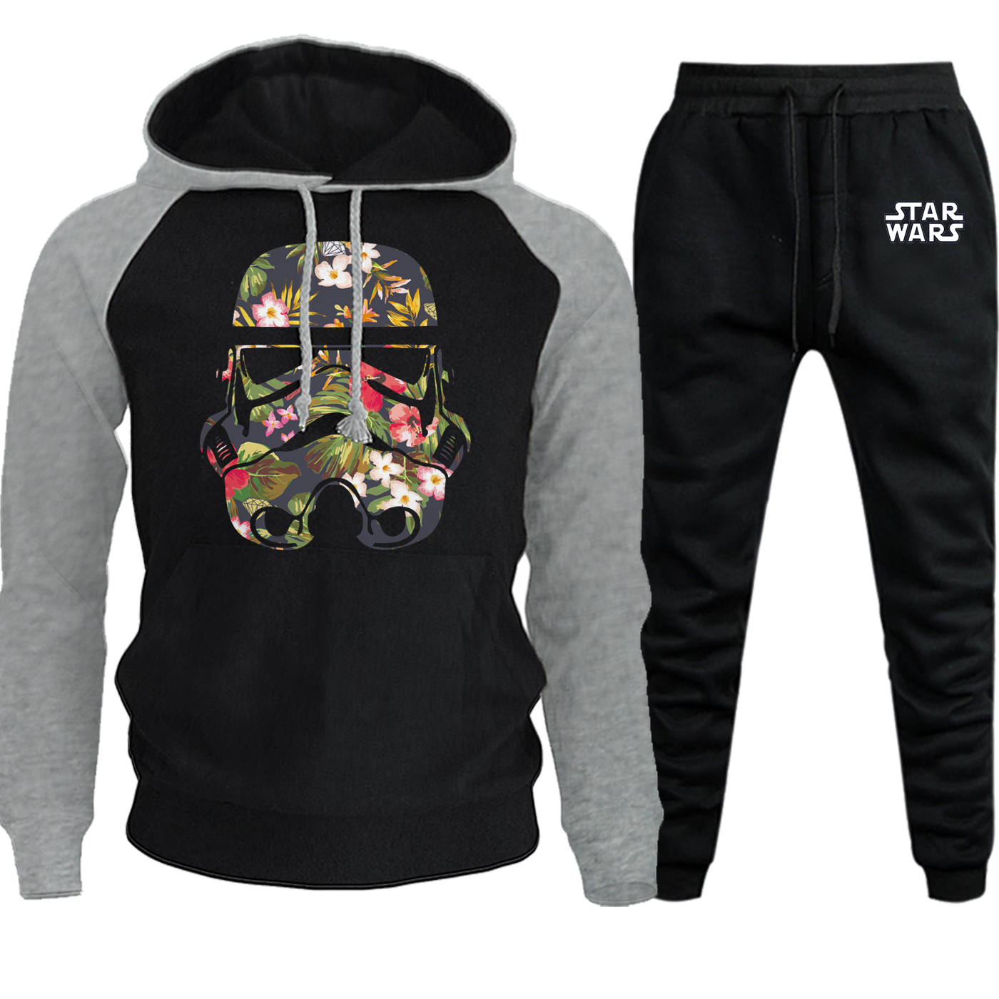 Star Wars Funny Stormtrooper Sweatshirt Mens Raglan Hoodies Autumn Winter 2019 Casual Fleece Suit Male Hooded+Pants 2 Piece Set