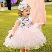 Пышные розовые Многослойные Платья с цветочным узором для девочек