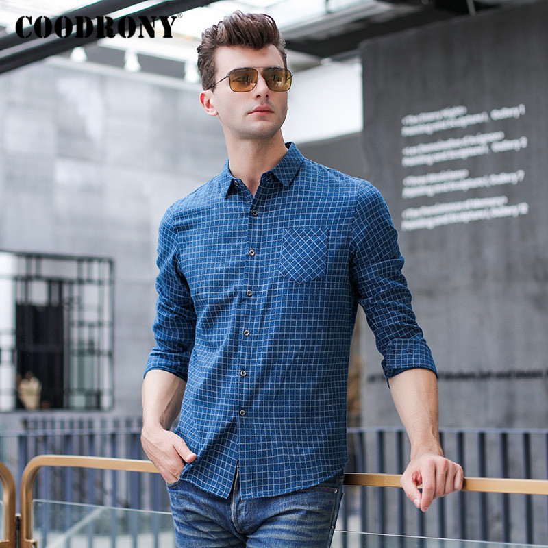 COODRONY Brand Long Sleeve Shirt Men Spring Autumn Fashion Plaid Mens Shirts With Pocket Business Casual Camisa Masculina C6006