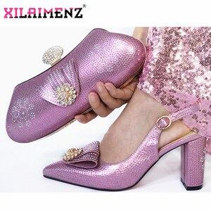 Image 1 - 양파 컬러 여성 하이힐 샌들과 일치하는 가방 파티 2019 뜨거운 판매 이탈리아 여자 신발과 가방 세트