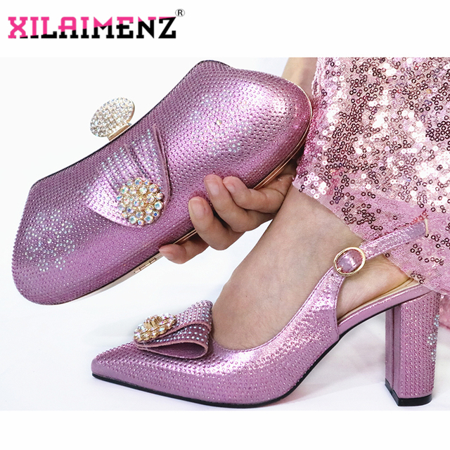 Onion Color Woman High Heels Sandals And Matching Bag Set For Party 2019 Hot Sale Italian Woman Shoes And Bag To Match Set