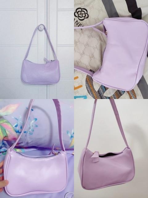 Leather Women Purple Underarm Bag  6