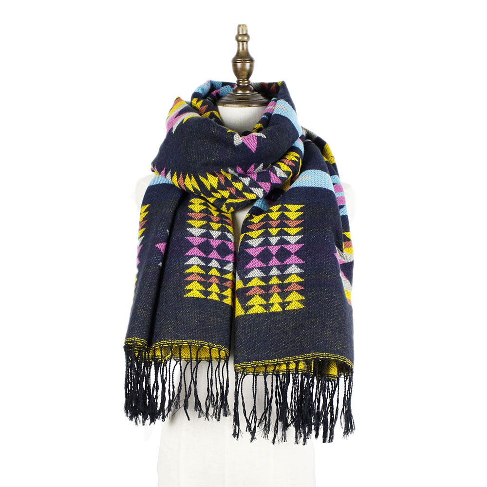 jzhifiyer YX103 320G 80*180+8*2cm Long Winter Reversible Bohemia Stylish 100%Acrylic Lady Blanket Scarf