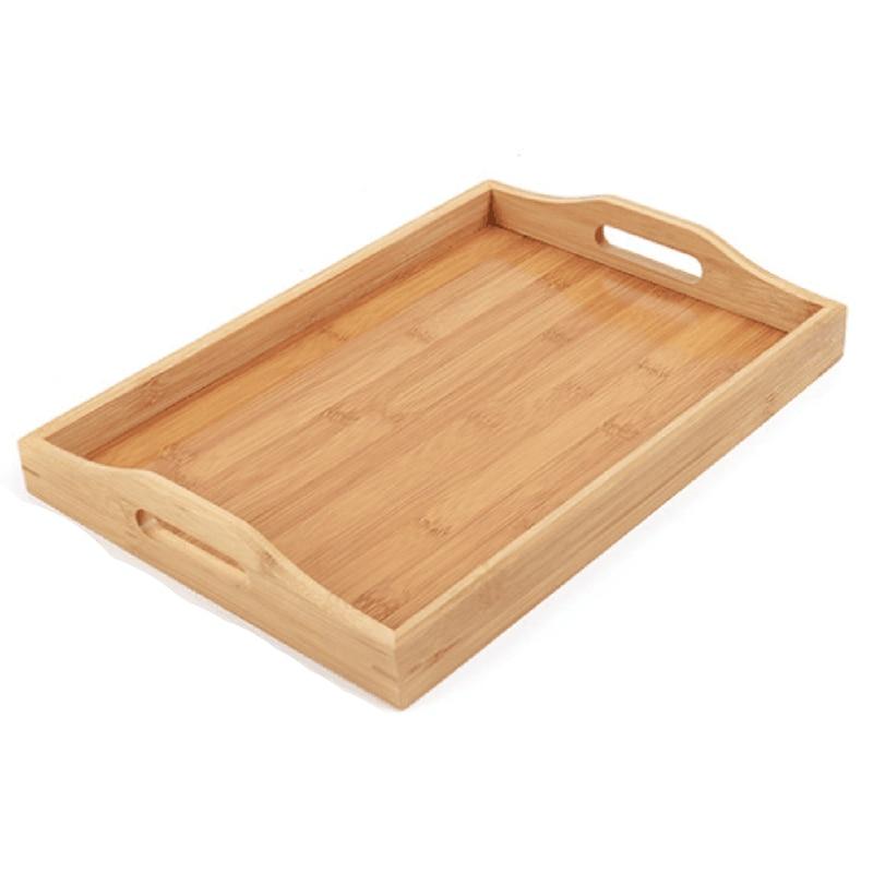 Поднос для сервировки бамбуковый-деревянный поднос с ручками-отлично подходит для обеденных подносов, чайных поддонов, поддонов для бара, поддонов для завтрака или любого поддона для еды-0