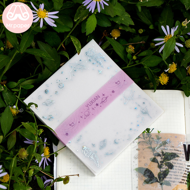Monsieur Papier 30 pcs/lot Estampage Laser Mer Scintillante Blocs-Notes Transparent Sulfate Beurre Papier Bullet Journal Feuilles Bloc-Notes