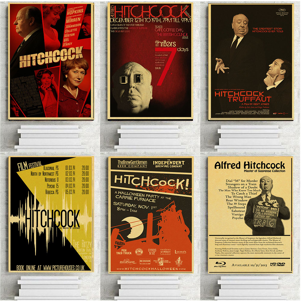 Alfred Hitchcock Vintage Movie Poster Wall Paper Home Decor Cudros Art Painting Mix Order image