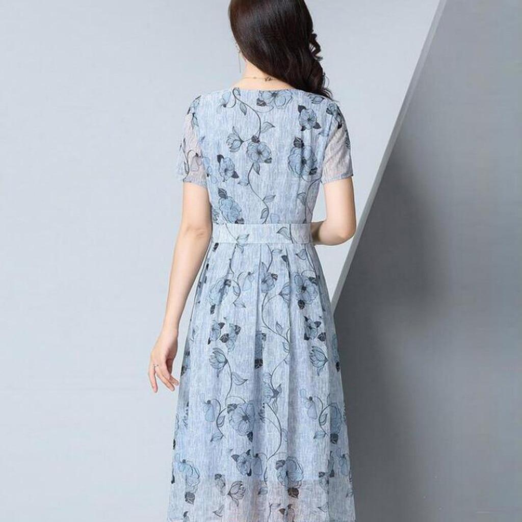 Sweet Girl Dres Summer Women Floral Print Long Chiffon Dress Short Sleeve V neck Bohemia Dress