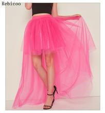 Womens Mesh High Waist Pleated Fluffy Maxi Dovetail Tutu Skirt Layered Tulle High Low Asymmetric Dance Party A-Line Petticoat maxi high waist pleated a line dress