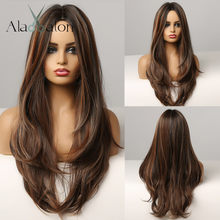 ALAN EATON – perruque de Cosplay synthétique longue ondulée noire brune dorée, perruque Afro avec raie centrale naturelle pour femmes noires