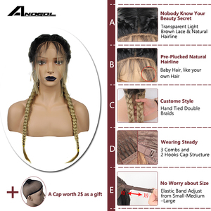 Image 4 - Anogol Pre Plucked Long Double Braids Black Brown Dark Roots Ombre Blonde Synthetic Braided Lace Front Wig With Baby Hair