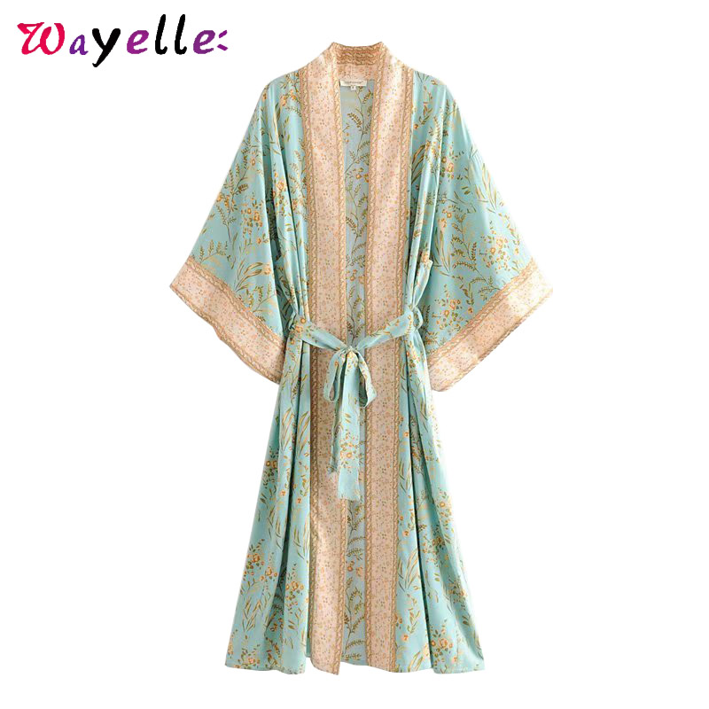 Floral Print Beach Cardigan Women Boho Summer Vintage with Sashes Women Coats Vintage Chic Kimono Tunic Women Blusas and Tops