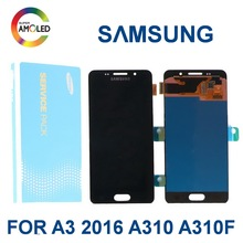 Original 4.7'' Super  AMOLED For SAMSUNG Galaxy A3 2016 A310 A310F A310 Mobile phone LCD Display Touch Screen Digitizer Assembly стоимость