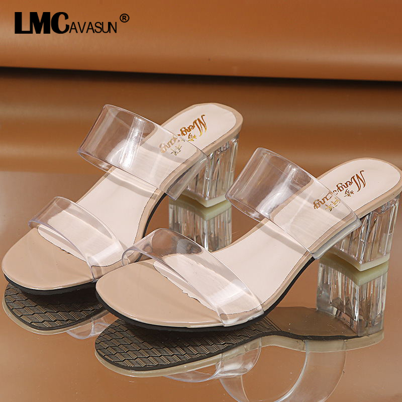Sandals Summer Transparent-Shoes Clear Heels Wedding-Jelly Slippers Women High-Heels