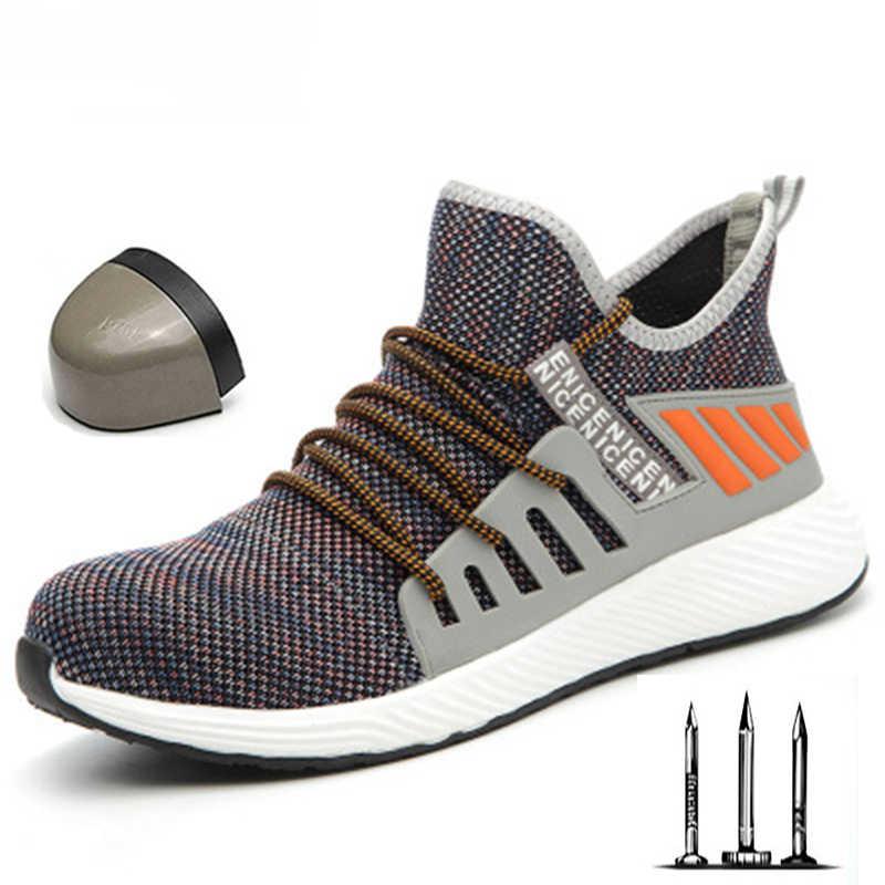 Kış yeni çelik iş güvenliği ayakkabı erkek nefes spor ayakkabı ultra hafif yumuşak çizmeler erkek rahat endüstriyel ayakkabı