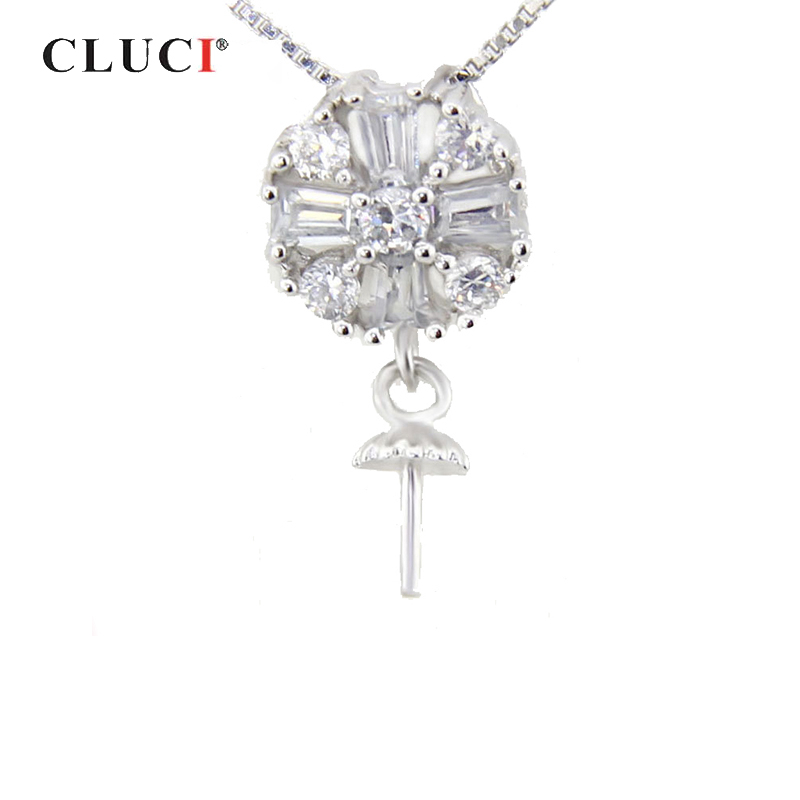 CLUCI Silver 925 Pearl Pendant Mounting For Women Necklace Jewelry Making 925 Sterling Silver Charms Pendant Fine Jewelry