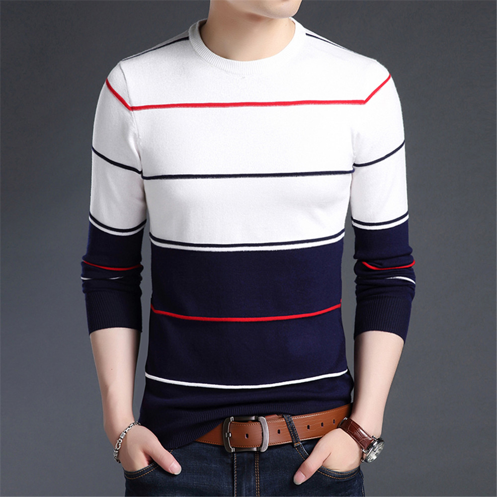 Mens Sweater 2019 Fashion Pullovers Autumn Winter Warm Sweater Men Striped Slim Fit Knitted Woolen Sweater Male Casual Clothes