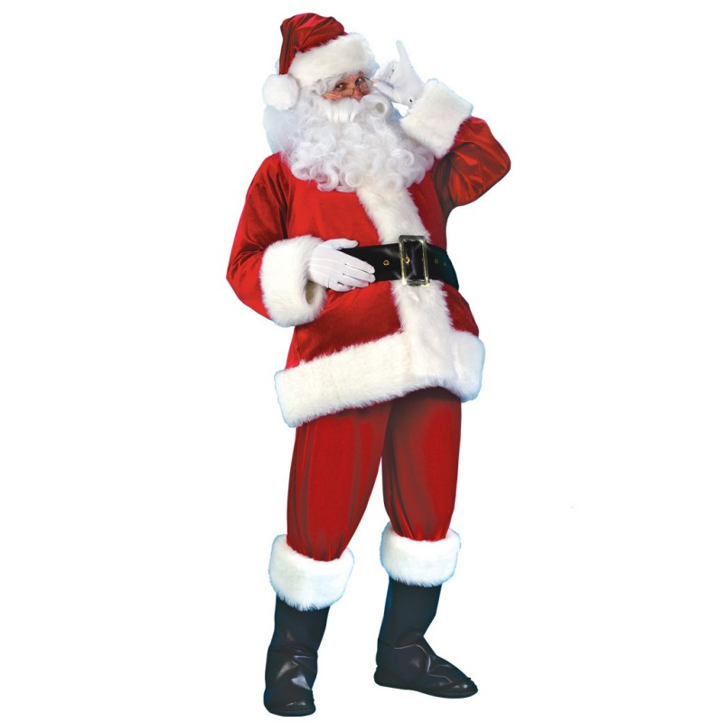 M 7 Pieces Set Christmas Costume Adult Velvet Leather Cosplay Santa Claus Clothes For Christmas Party Props Costume Adults
