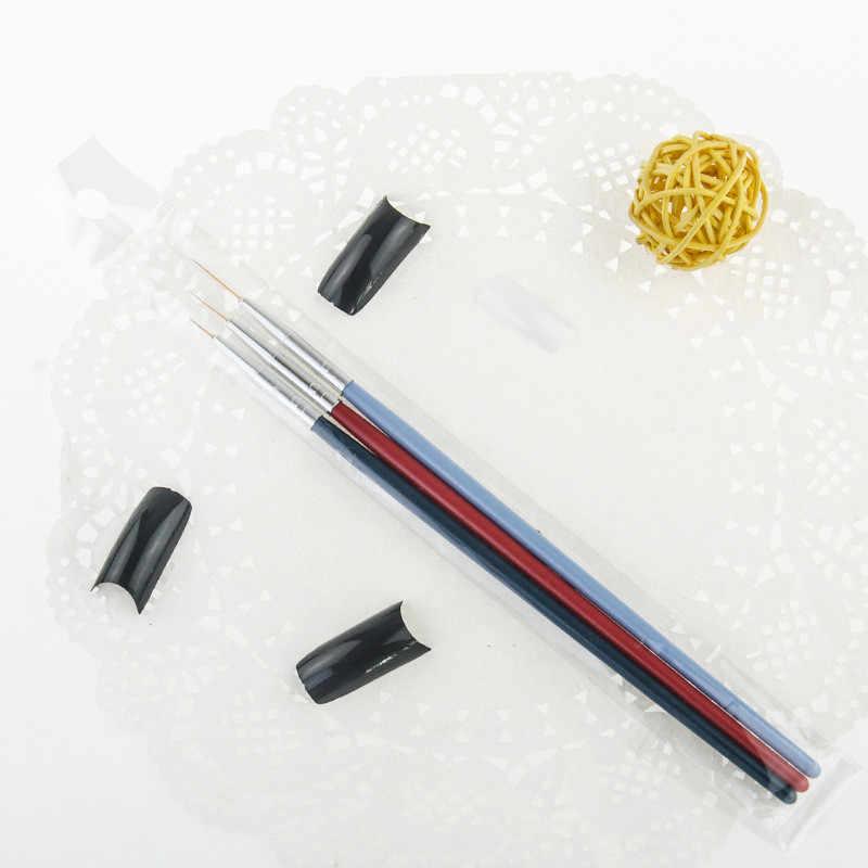 3PCS צבע שמן מברשת עץ הנדל ניילון שיער שונה גודל וו קו עט עבור אקוורל גואש אקריליק ציור אמנות כלים
