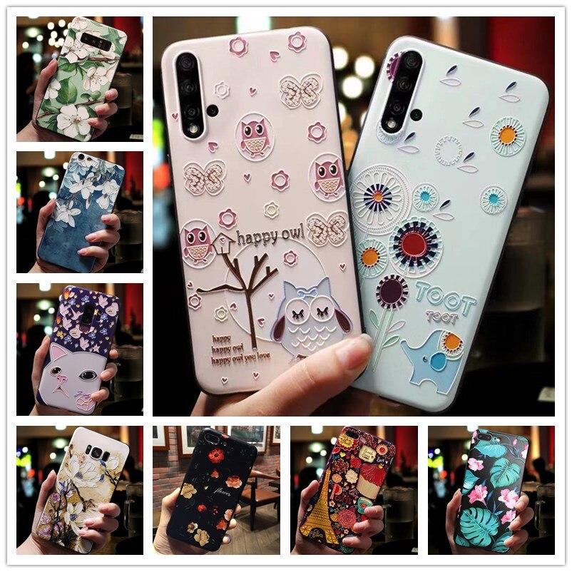 Чехол для Huawei Honor 9X, силиконовые чехлы с 3D тиснеными цветами для телефонов Huawei Honor 9X Pro, мягкий чехол Y5 II, компактный чехол Y6 II