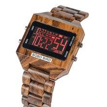 בובו ציפור דיגיטלי שעון גברים 4 צבעים LED עמיד למים מעורר אלקטרוני שעון תאריך שבוע תצוגת Relogio Masculino Erkek Kol Saati