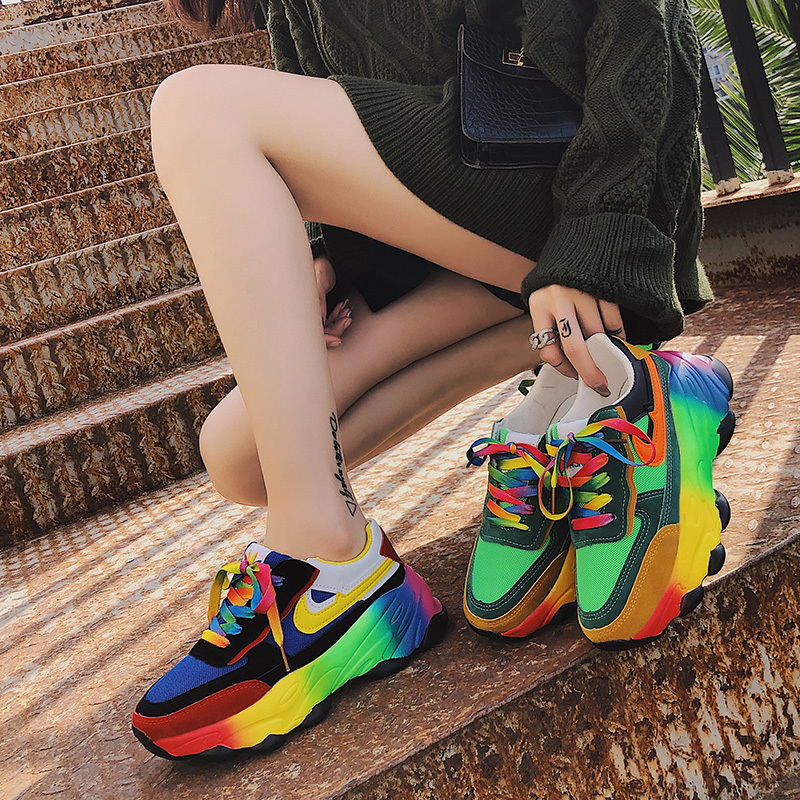 2020 New Mixed Color Chunky Sneakers Students Casual Shoes Woman Flats Lace Up Thick Bottom Platform Women Shoes Plus Size 41