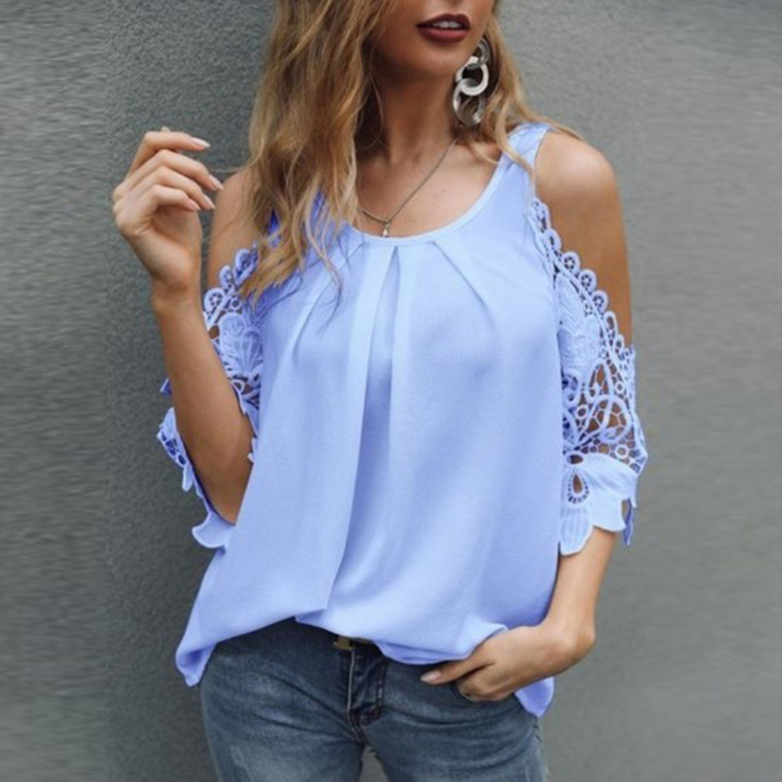 White Office Shirts For Ladies 2021 Summer New Plus Size Women's Fashion Loose Halter Lace Hollow Sleeve Sling Shirt Top Blouse Women Women's Blouses Women's Clothings